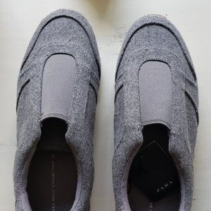 Zara Basic grey fabric slip on sneakers